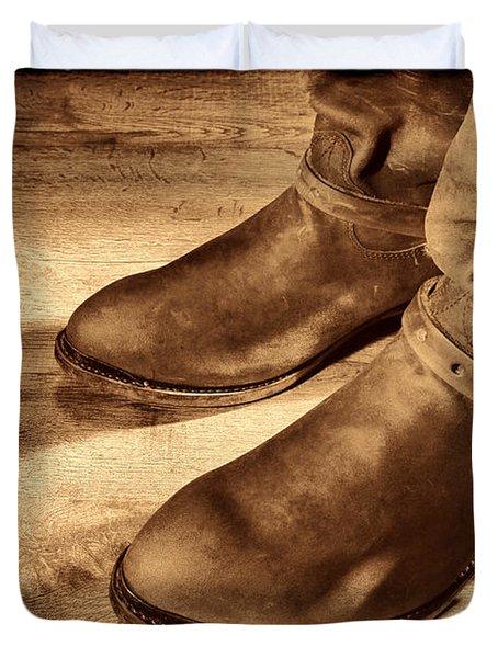 Cowboy Boots On Saloon Floor Duvet Cover
