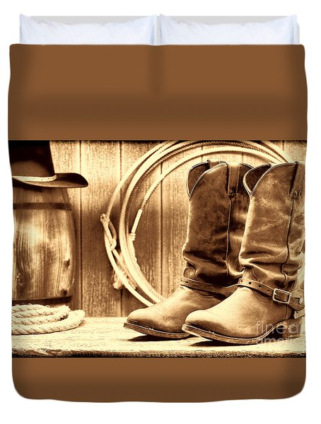 Cowboy Boots On The Deck Duvet Cover