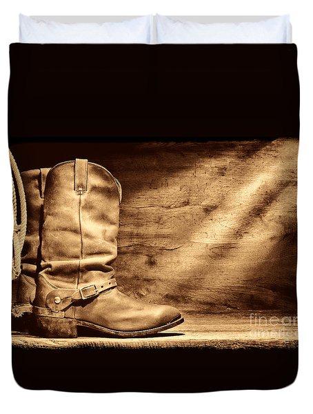 Cowboy Boots On Wood Floor Duvet Cover