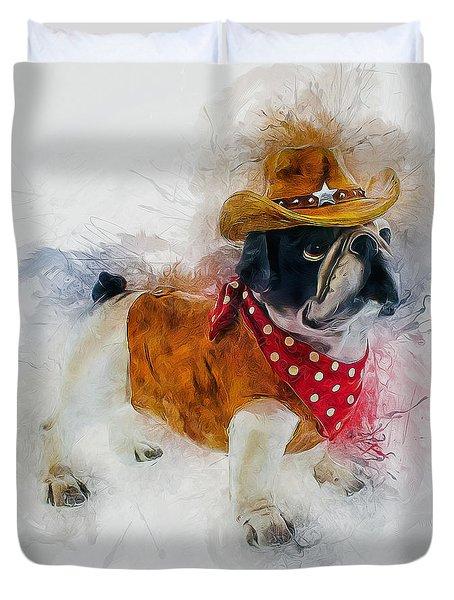 Cowboy Bulldog Duvet Cover