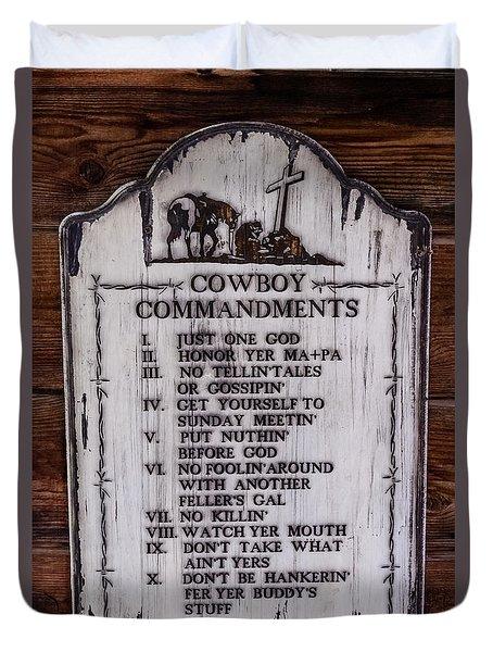 Cowboy Commandments Duvet Cover