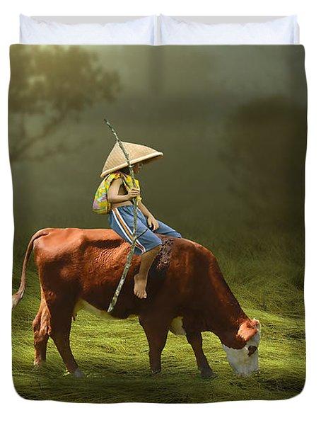 Cowboy Cow Boy Duvet Cover