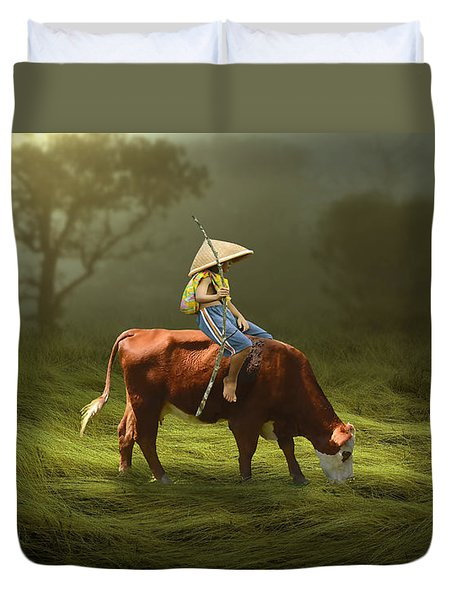 Duvet Cover featuring the mixed media Cowboy Cow Boy by Marvin Blaine