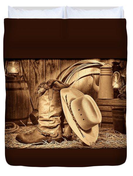 Cowboy Gear In Barn Duvet Cover