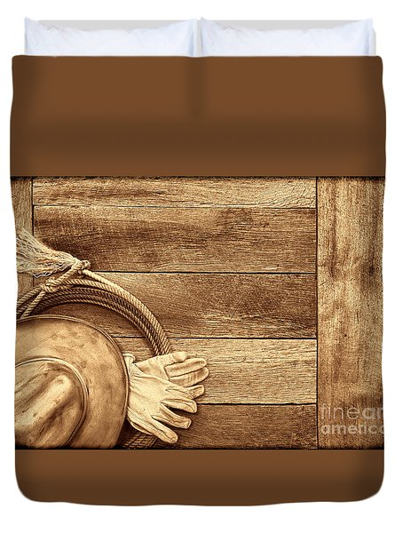 Cowboy Gear On The Floor Duvet Cover by American West Legend By Olivier Le Queinec