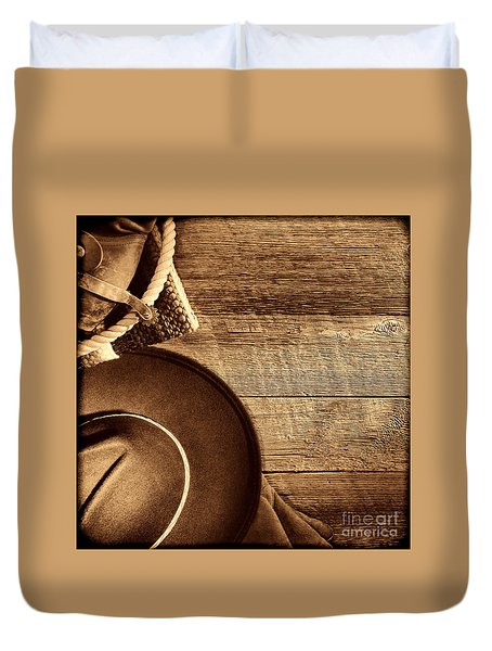 Cowboy Hat And Gear On Wood Duvet Cover
