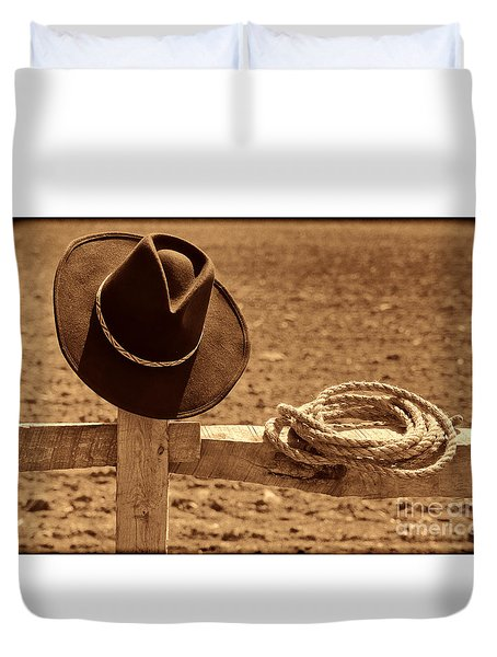 Cowboy Hat And Rope On A Fence Duvet Cover