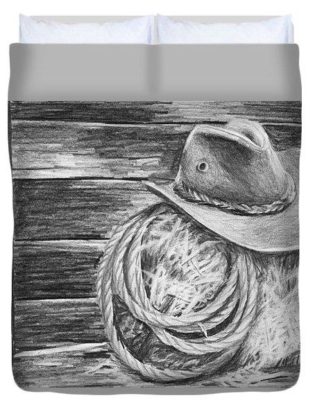 Cowboy Hat In A Barn Duvet Cover by Nolan Clark
