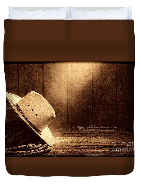 Cowboy Hat In The Old Barn Duvet Cover