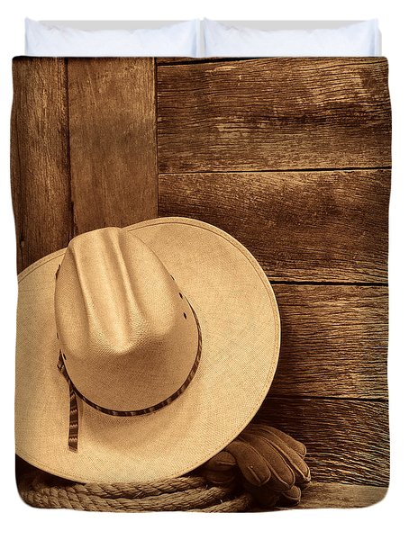 Cowboy Hat In Town Duvet Cover
