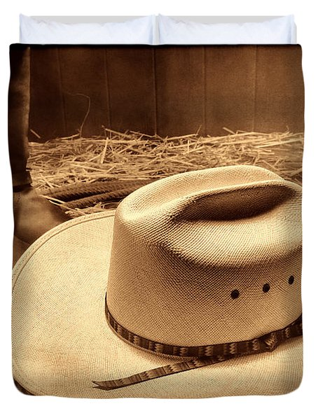 Cowboy Hat On Barn Floor Duvet Cover