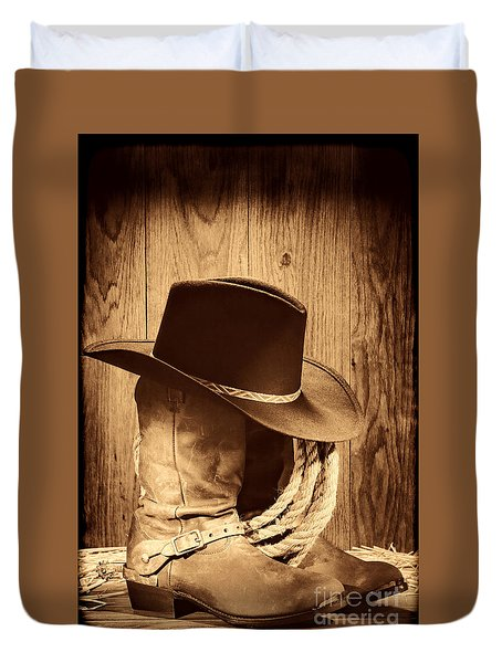 Cowboy Hat On Boots Duvet Cover