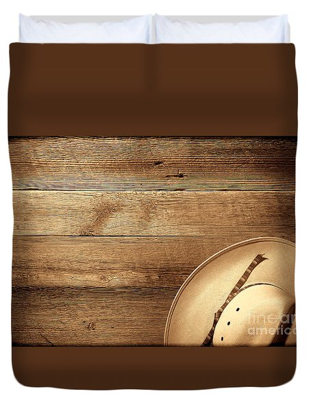 Cowboy Hat On Wood Table Duvet Cover
