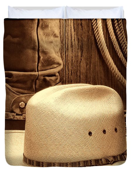 Cowboy Hat With Western Boots Duvet Cover