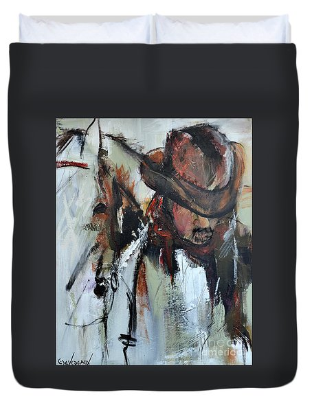 Duvet Cover featuring the painting Cowboy II by Cher Devereaux