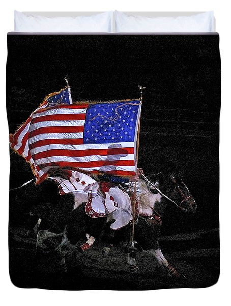 Duvet Cover featuring the photograph Cowboy Patriots by Ron White