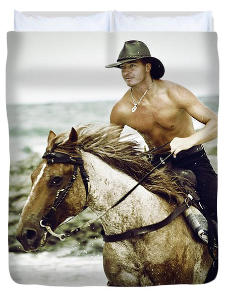 Cowboy Riding Horse On The Beach Duvet Cover