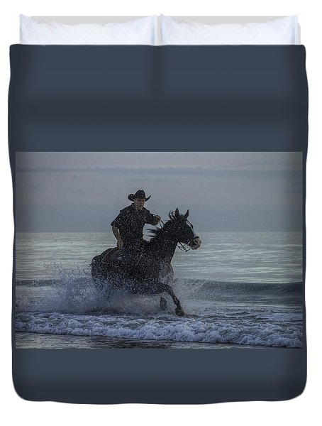 Cowboy Riding In The Surf Duvet Cover