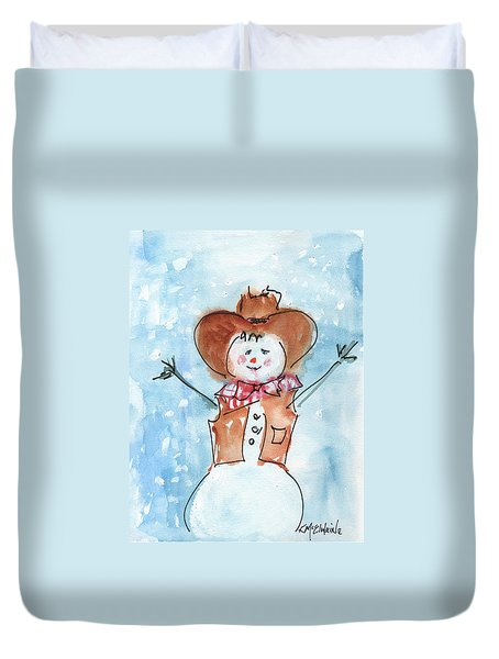 Cowboy Snowman Watercolor Painting By Kmcelwaine Duvet Cover