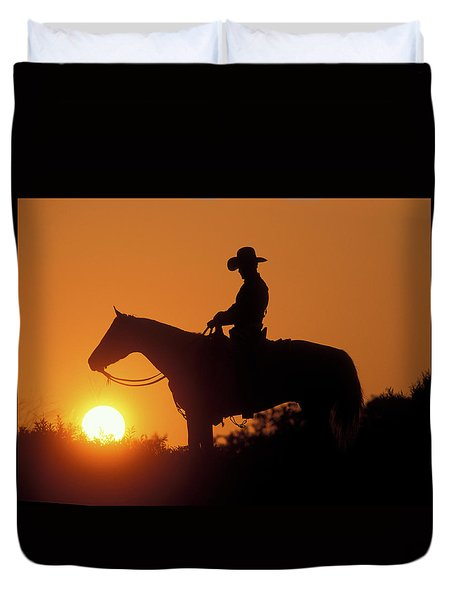 Cowboy Sunset Silhouette Duvet Cover