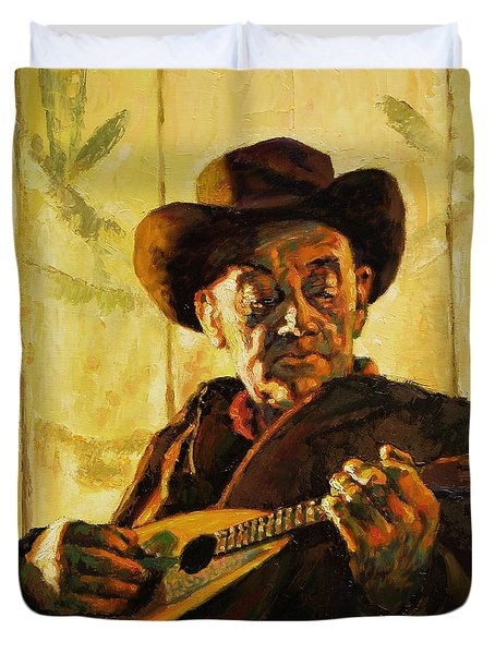 Cowboy With Mandolin Duvet Cover by John Lautermilch