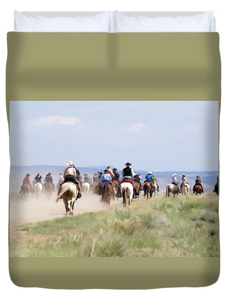 Duvet Cover featuring the digital art Cowboys And Cowgirls Riding Horses At The Sombrero Horse Drive by Nadja Rider