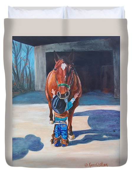 Duvet Cover featuring the painting Cowboy's First Love by Karen Kennedy Chatham
