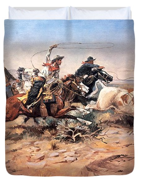 Cowboys Roping A Steer Duvet Cover by Charles Marion Russell