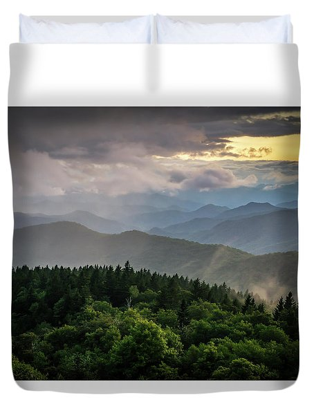 Cowee Mountain Sunset Duvet Cover by Serge Skiba
