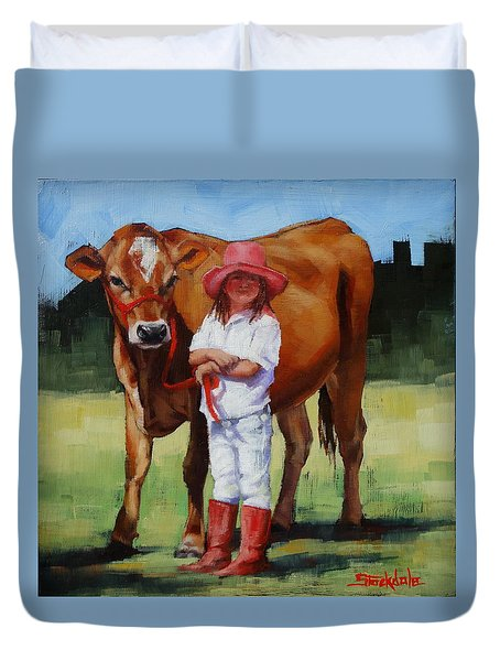 Duvet Cover featuring the painting Cowgirl Besties by Margaret Stockdale