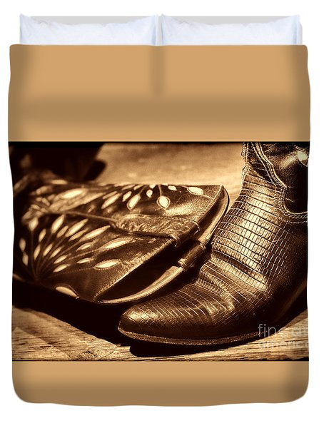 Cowgirl Gator Boots Duvet Cover by American West Legend By Olivier Le Queinec