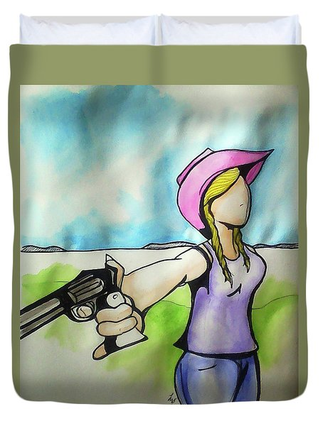 Cowgirl With Gun Duvet Cover