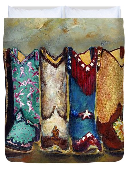 Cowgirls Kickin The Blues Duvet Cover by Frances Marino
