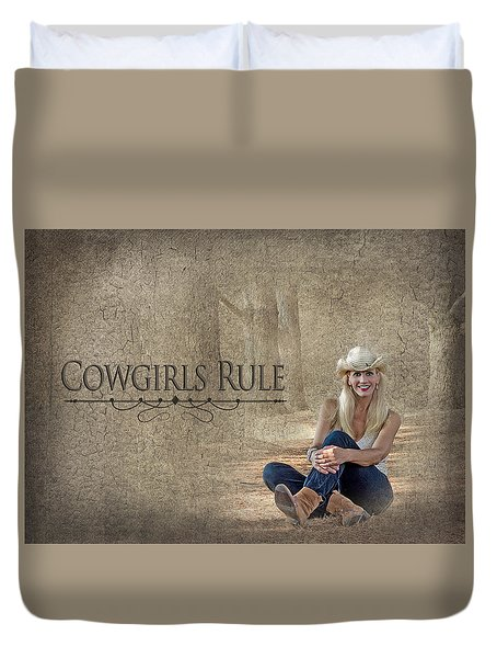Cowgirls Rule Duvet Cover by Trudy Wilkerson