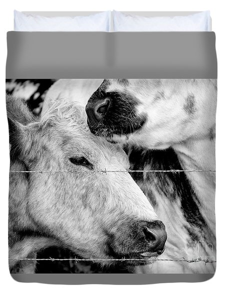 Duvet Cover featuring the photograph Cows Behind Barbed Wire by Nick Biemans