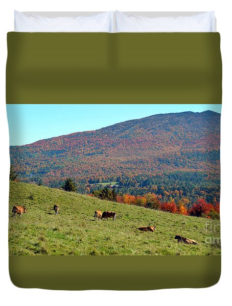 Cows Enjoying Vermont Autumn Duvet Cover by Catherine Sherman