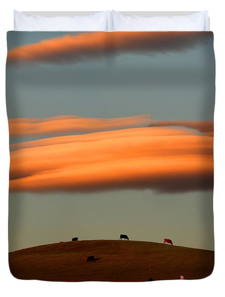 Cows Graze Under The Sunset Clouds In Sonoma County California Duvet Cover