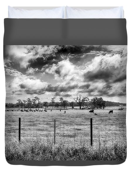 Duvet Cover featuring the photograph Cows by Howard Salmon