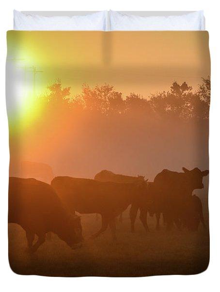 Cows In The Sunrise Mist Duvet Cover