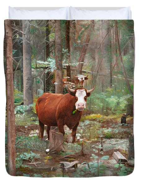 Cows In The Woods Duvet Cover by Joshua Martin