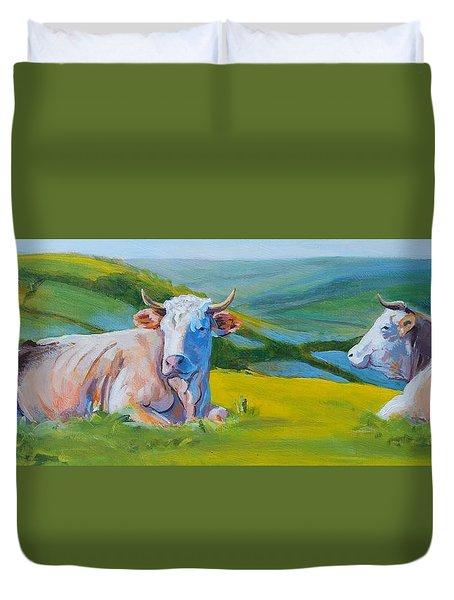 Cows Lying Down In Devon Hills Duvet Cover