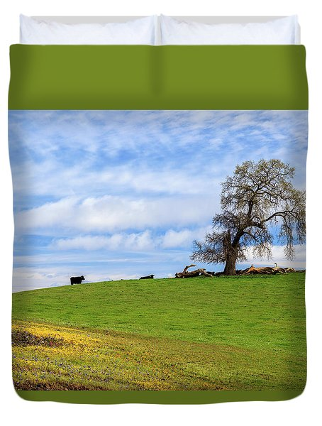Cows On A Spring Hill Duvet Cover by James Eddy