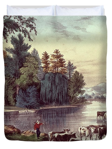 Cows On The Shore Of A Lake Duvet Cover by Currier and Ives