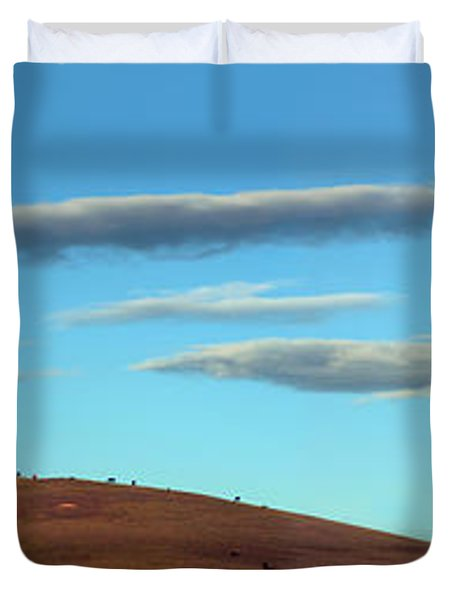Cows Peacefully Graze On The Hills Of Sonoma County California Duvet Cover by Wernher Krutein