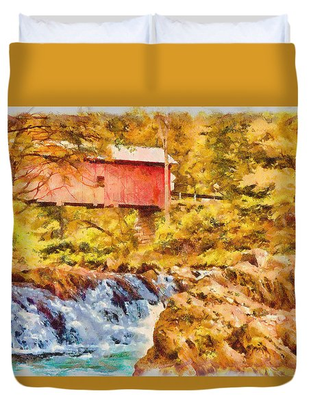 Duvet Cover featuring the photograph Cox Brook Flows Under Slaughterhouse Covered Bridge by Jeff Folger