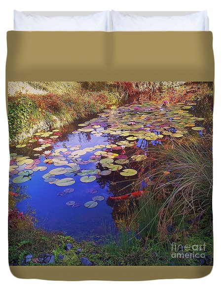 Duvet Cover featuring the photograph Coy Koi by Suzanne McKay