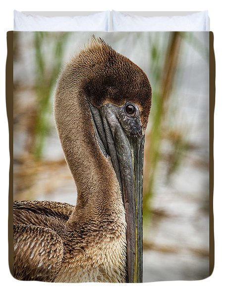 Duvet Cover featuring the photograph Coy Pelican by Jean Noren