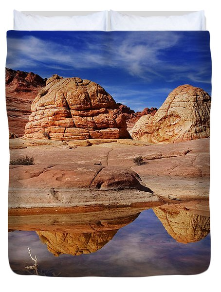 Coyote Butte Reflections Duvet Cover by Mike  Dawson
