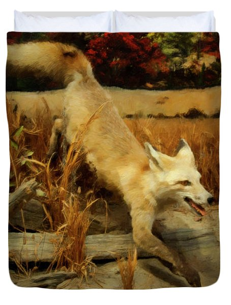 Duvet Cover featuring the digital art Coyote  by Chris Flees