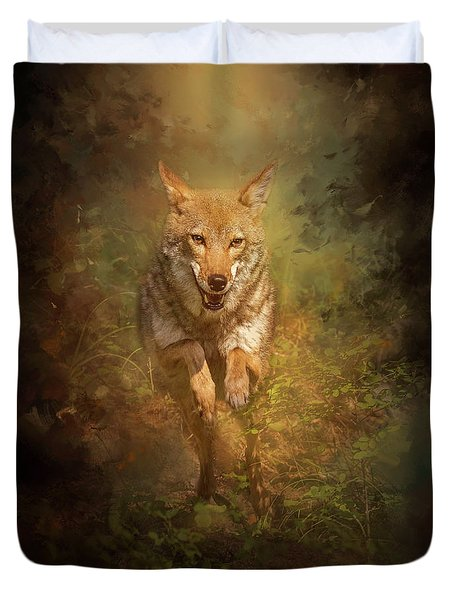 Duvet Cover featuring the digital art Coyote Energy by Nicole Wilde